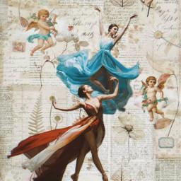 dancer dancinginthemoonlight dancing retro angels freetoedit ecpaperaestheticframes