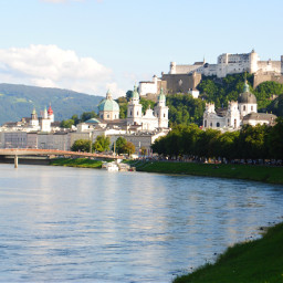 salzburg austria city hohensalzburg castle salzach river churches trees