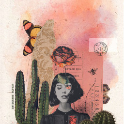 collage collageart collageedit watercolor pink cactus butterflies rose driedflowers vintage vintageaesthetic aesthetic art old inspiration dark stamp freetoedit