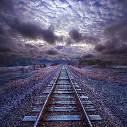 freetoedit remixit travel traintracks railway railroadtracks follow trending fanart followme love art landscapephotography beauty converginglines horizon cloudy