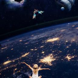 freetoedit picsart picsarttool myedit editedbyme surreal surrealedit planets stars lights bird spaceship woman girl galaxy heypicsart