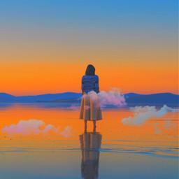 clouds girl sunset freetoedit