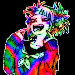 toga himikotoga togahimiko myheroacademia bokunoheroacademia bnha mha myhero anime weeb glitchcore rainbowcore aesthetic alt punk neoncore scenecore scene emo manga freetoedit