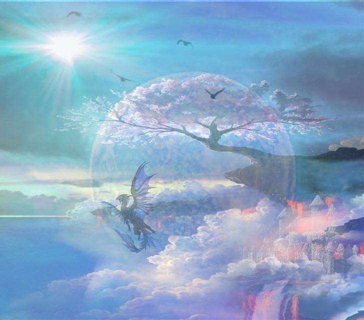 #sfghandmade #moonlight dragons #sky #castles #bluebackground #pastelcolors #freetoedit #picsarteffects