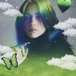 remixit emoji iphoneemoji remix green black freetoedit aesthetic greenaesthetic blackaesthetic badguy sparkle glitter clouds heart buterfly