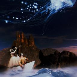 myedit freetoedit fantasy moon jellyfish stars