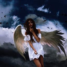 replay girl bluesky birds wings freetoedit
