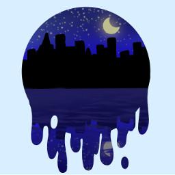 city night moon idrewthis stars nightsky cityscape lake water reflection cityreflection aesthetic