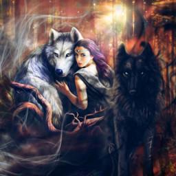 myedit myart wolfs wolfwoman yinyang spirit spiritual magical magicalart fantasy forest fairyforest bkackandwhite createbyme makewithpicsart freetoedit