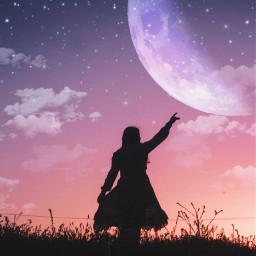 moon purpleaesthetic clouds stars sunset girl silhouette freetoedit