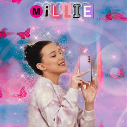 mills millie m i l e aesthetic butterlfy pink cyber blue purple milliebobbybrown strangerthings netflix actress enolaholmes interesting california beach art party nature music people freetoedit