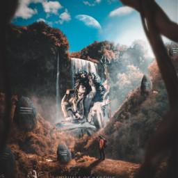 madewithpicsart madebyme picsart instagram art artist surreal lordshiva lordkrishna hindugods hindutemple hindu indian india god lord jesus ruins forest nature men male coneptart waterfall woods freetoedit