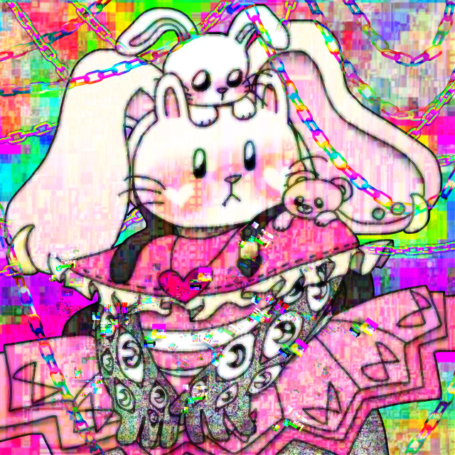 art by me #glitch #glitchcore #pink #saturatedaesthetic #saturatededit #bunny #art #weirdcore #chaoscore