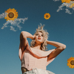 replay sunflower clouds sparkles sky people summer freetoedit