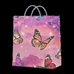 shopping bag butterfly glitter sparkle freetoedit