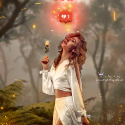 broken girl glow forest visual surreal freetoedit