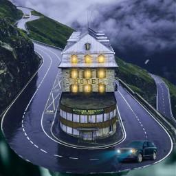 freetoedit picsart remixed myedit editedbyme surreal surrealedit road cars carlights hotel mountainvilla sky clouds birds man heypicsart