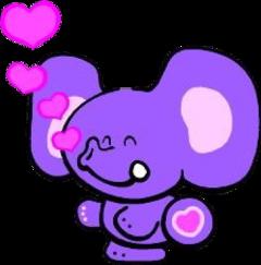 sticker purple heart elephant bubblegum bubblegumclub pink cartoon cartoonanimal freetoedit