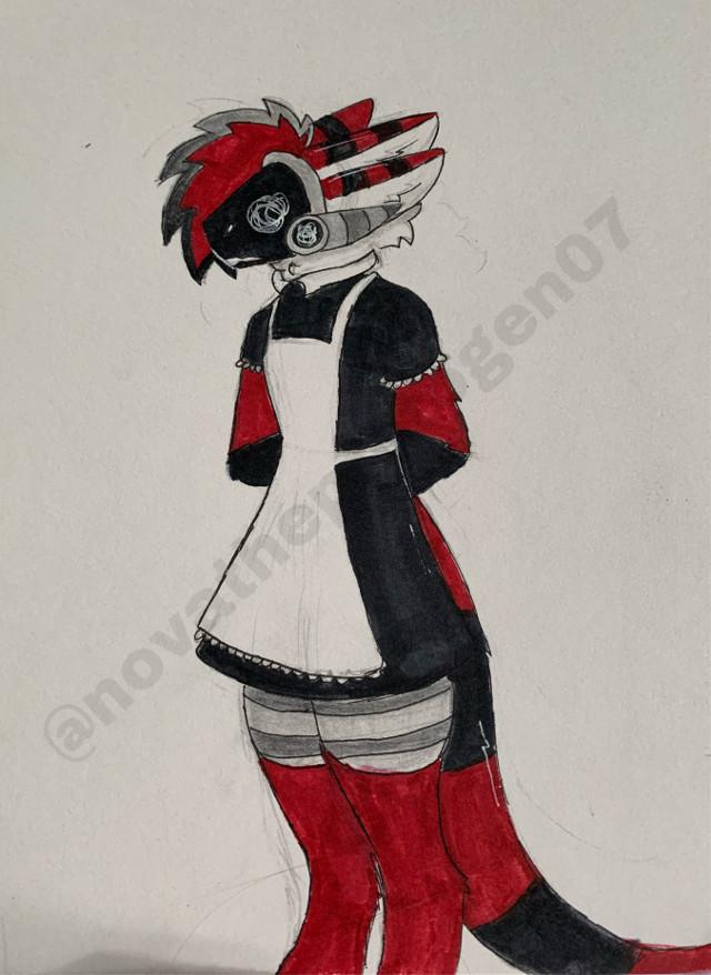 """Oh BuT yOuLl LoOk CuTe-"" nova mocked spade   *utter silence*      SPADE IN A MAID DRES AJDHAGXHAG  He doesnt like this one bit-     #maid #maiddress #dress #protogen #spade #cute #furry #furries #fursona #furryfandom #furrie #furrys"