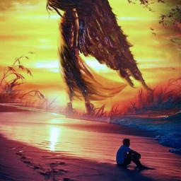 try sunset sea angel freetoedit