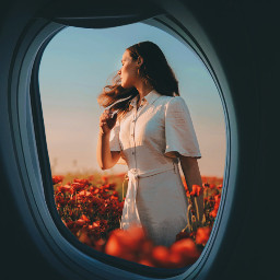 amazing plane window girl flowers freetoedit