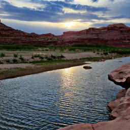 sunset river spring freetoedit