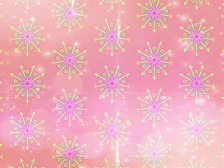 #sfghandmade #patterns #backgrounds #pink stars #snowy #snowflake #flowers #rosecolor #picsarteffects