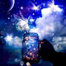 freetoedit myedit myart fantasy fantasyart fairy fée féerique butterfly magic magical nuitétoilée nuitmagique magicnight superposition surreal prism prismeffect createdbyme makewithpicsart ircmagicfairyjar