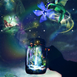 freetoedit myedit myart fantasy fantasyart fairy fée colibri superposition forestfairy birds magic magical surreal prism prismeffects createdbyme makewithpicsart challengepicsart ircmagicfairyjar magicfairyjar