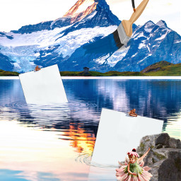 sureal abstract mountains lake calmwaters reflections paintbrush painting hands ballerina floating wilderness freetoedit irccreateyourownway createyourownway