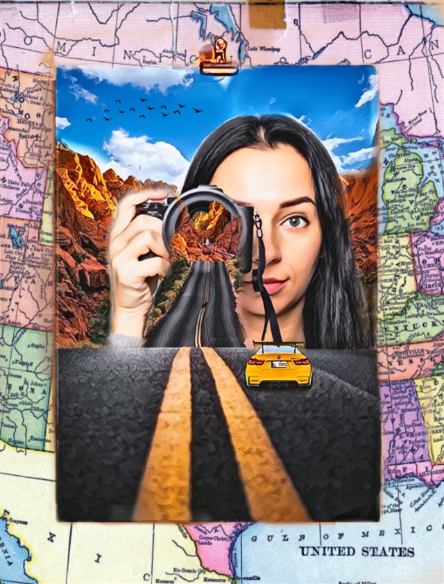 #createyourownwayimageremixchallenge #lifeisahighway #roadtrip #travel #cars #unitedstatesroadmap #photography #camera #highway #womansportrait #femalephotographer ✨🚗🗺📸🏜✨ #irccreateyourownway #freetoedit
