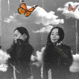 mokaenkhbayar butterfly blackandwhite clouds surreal freetoedit