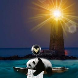 desafio challenge panda farol imensidao horizonte solidao oceano noite night light lemond balloon nevoa fantasy fantasia calmaria freetoedit irccreateyourownway createyourownway