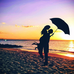 sunset sunrise beach water sea ocean umbrella couple shadow dark freetoedit
