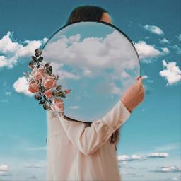 mirror flower clouds girl