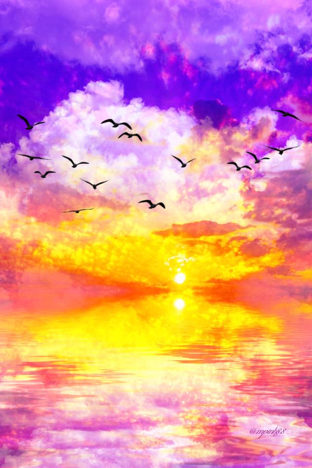 #freetoedit @mpink88 #glitter #sparkle #galaxy #sky #stars #sunset #sun #glow #light #night #aesthetic #birds #nature #landscape #colorful #horizon #replay #overlay #background