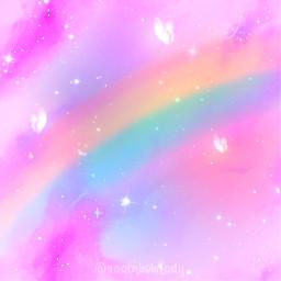 wallpaper wallpapers background backgrounds rainbowlight rainbow star butterfly cute kawaii freetoedit