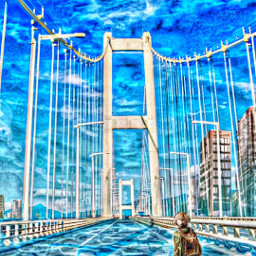 freetoedit madewithpicsart remixit anime animestyle girl loneliness bridge city buildings road streets emptystreets sky clouds walking