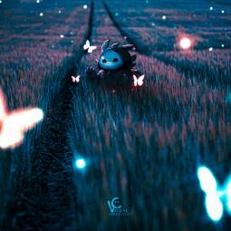 followmeplease dreamy night field colourful purple blue yellow green orange red butterfly blurr followme freetoedit