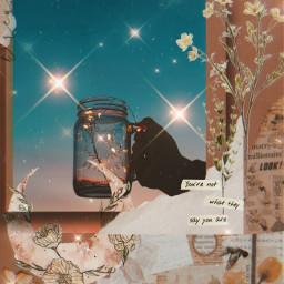 vintageaesthetic brownaesthetic spakles glass moon flowers ircmagicfairyjar magicfairyjar freetoedit