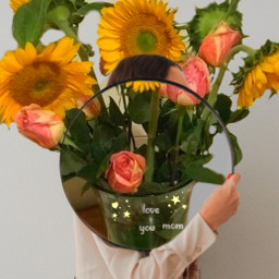 doubleexposure mothersday flowers mirror brushes ircgirlwithamirror girlwithamirror freetoedit