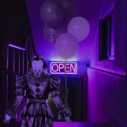 challenge desafio purple clown palhaço medo terror divertido open neon baloes balloons freetoedit