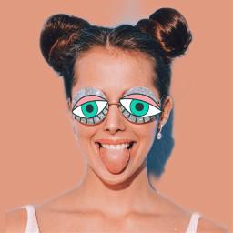 girl eyes funny crazy mintgreen pink sunglasses freetoedit srceyesbackground eyesbackground