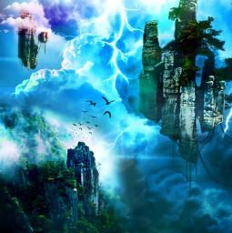myedit fantasy fantasyart surreal autremonde nuages éclairs prism prismeffect superposition createdbyme makewithpicsart freetoedit