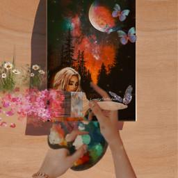 freetoedit picsart picsartchallenge challenge surreal galaxy girl hands painting yourspace flowers butterflies multipleeffects ownedit plsvote irccreateyourownway createyourownway