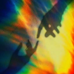 rainbow edit cute hands shadows freetoedit