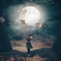 moonlight moon stars glitter shine freetoedit