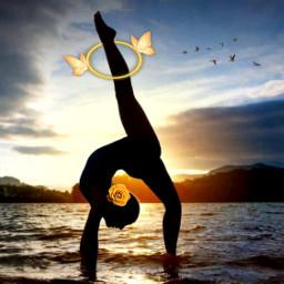 neonbutterflycirclestickerremixchallenge gymnastatsunset acrobatics gymnastics butterflies hoop ocean beach rose srcneonbutterflycircle freetoedit