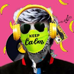modernarteditingchallenge keepcalm goingbananas sunglasses headphones statue music facemask makeover ecmodernart modernart freetoedit