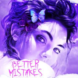 bettermistakes woman purple buterflys freetoedit